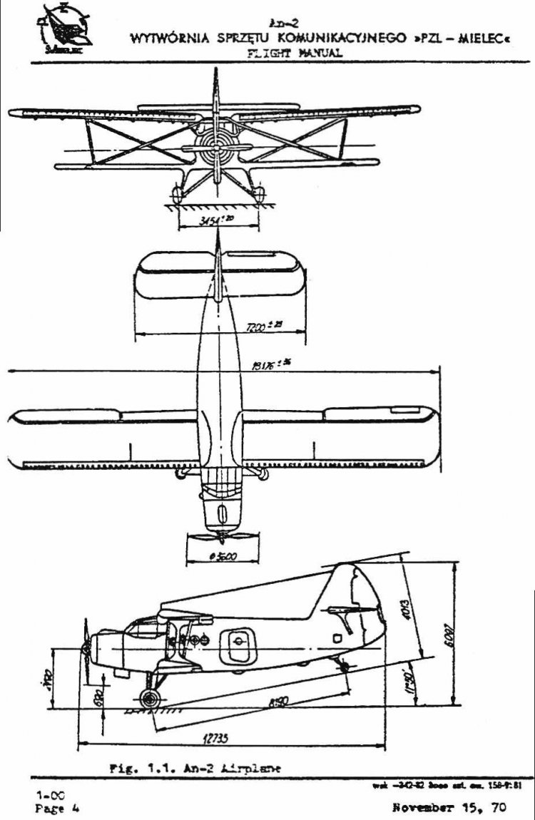 The original manufacturer's 1970 flight manual for An-2 variants  P/R/T/TD/TP in English. This is not a homemade translation! Unfortunately,  this scan is ...